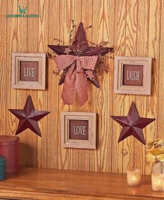 6 Pc Live Love Laugh Framed Signs Country Stars Rustic Primitive Wall Decor