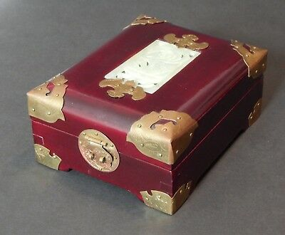 Vintage Chinese Ornate Rosewood Jewelry Box w/Brass Inlaid Carved Jade