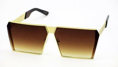 Oversized Large Metal Square Flat Top Vintage Style Gradient Sunglasses 189