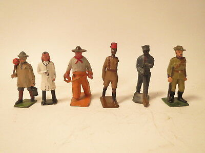 Misc lot 6 British/French/US metal figures: Ethiopian, Crescent Doctor, Aussie..