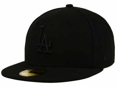 new concept 398ca eedcf New Era Los Angeles Dodgers LA 59FIFTY Fitted Hat Cap All Total Black On  Black