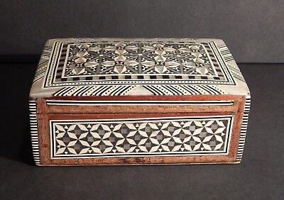 Egyptian Mosaic Inlaid Mother of Pearl Jewelry Trinket Box