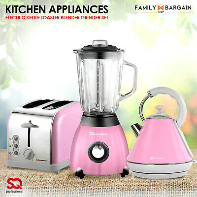 AB Pink Matching Kitchen Appliances Set 1.8L Kettle Toaster Blender & Grinder