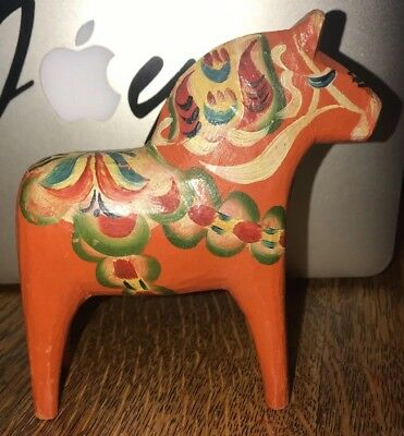 "Vintage 6"" SWEDISH DALA HORSE FOLK ART WOODEN HAND CARVED   #5"