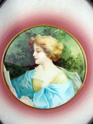 Antique Victorian Lady Reading Portrait Oval Glass Chimney Flue Cover Shield yqz