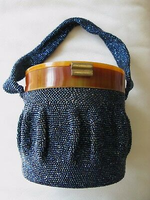 Vintage Iridescent Blue Peacock Crochet Bead Butterscotch Lucite Box Purse 1940s