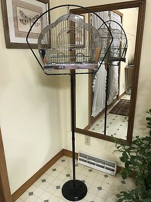 Vtg. ANTIQUE BIRD CAGE Art Deco Chrome HENDRYX Parakeet Canary Finch W/ Stand