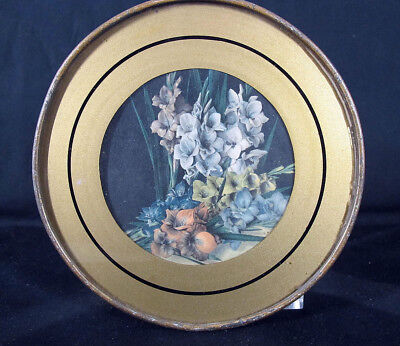 Antique Victorian Gladiolus Flowers Round Glass Chimney Flue Cover Shield 14 yqz