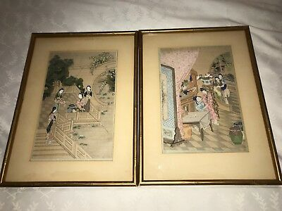 Pair of Antique Chinese hand paintings on silk with traditional characters