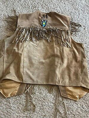 Genuine Leather Vest with fringe and beaded design