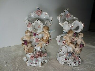 Pair Antique Victorian hand painted Betson Vases. Rare style