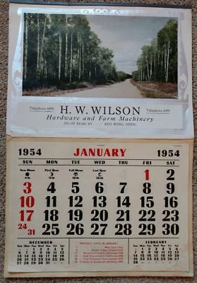 1954 Advertising Calendar H W Wilson Hardware and Farm Machinery Red Wing MN