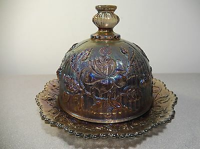 Vintage Carnival Glass Imperial Luster Rose Butter Dish SIGNED!