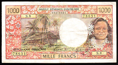 TAHITI- 1000 FRANCS BANKNOTE PICK-27d 1985 ISSUE VERY FINE