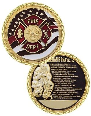 Firefighter Fire Rescue Challenge Coin Fireman's Prayer w Crossed USA Flags