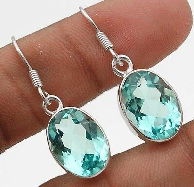 "14CT Aquamarine 925 Solid Sterling Silver Earrings Jewelry 1 1/3"" Long"