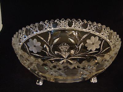 """Vintage Cut Glass Three Footed Round Bowl Dish 8"""" Dia. Daisy And Leaf Pattern"""