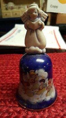 "Avon Porcelain Christmas Bell ""Heavenly Notes"" Blue with Angels 1992 Vintage"