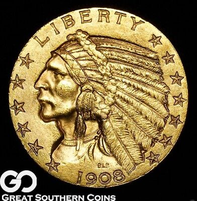 1908-D Half Eagle, $5 Gold Indian, BU++ ** Free Shipping!