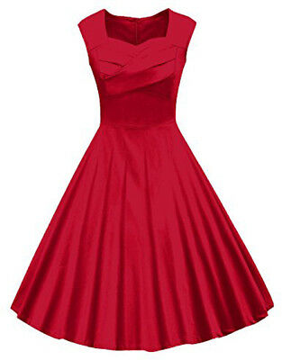 Red  Women's 1950s Retro Vintage Cap Sleeve Cocktail Party Swing Dress L