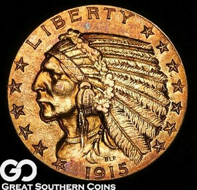 1915 Half Eagle, $5 Gold Indian, Deep Rich Tone ** Free Shipping!