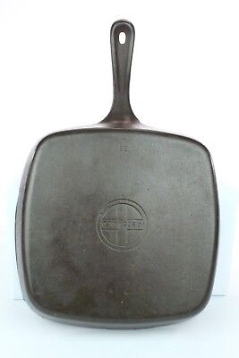 Griswold #55-A Cast Iron Square Skillet with Small Logo Reconditioned Seasoned