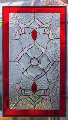 Tiffany Style Stained Glass Window RV Main Door Insert Beveled Flower & Swirls