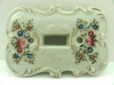 Vintage Japan Switch Wall Plate Pink Rose Blue Green Sticker Floral Light White