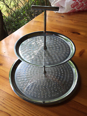 Retro Embossed Stainless Steel 2 Tier Cake Stand