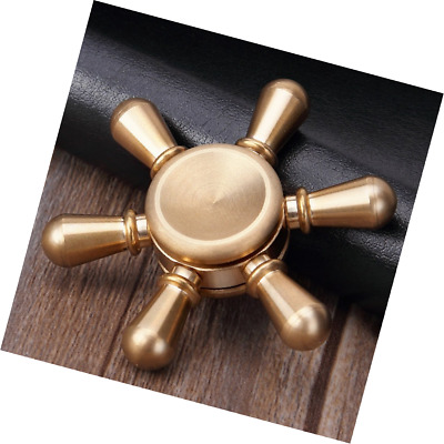 Aukwing Mini Six Winged Brass Hand Fidget Spinner Widget Focus Toy for ADHD Chil