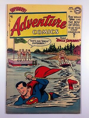 DC ADVENTURE COMICS #203 (Aug 1954) SUPERBOY Rare GOLDEN AGE VG/FN Ships FREE!
