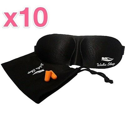 Sleeping Eye Mask BEST Soft Comfortable With Ear Plugs+Travel Case (x10 PACK)