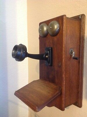 Antique Vintage 1892 ,  Stromberg - Carlson Walnut Wood Wall Crank Phone.