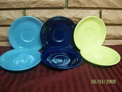Fiesta Homer Laughlin Saucers Set Of Six 2 Yellow, 2 Blue. 2 Navy  Preowned