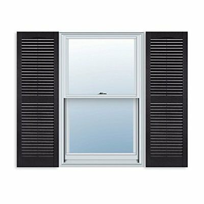 15 Inch x 51 Standard Louver Exterior Vinyl Window Shutters Black Pair Hardware