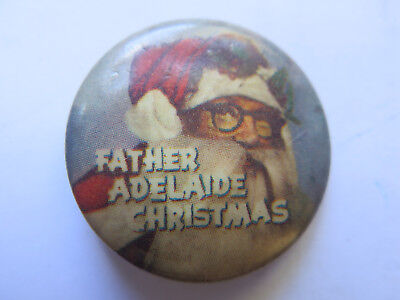 JOHN MARTINS FATHER CHRISTMAS ADELAIDE TINNIE BADGE c1950s EXCELLENT CONDITION