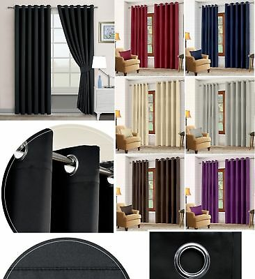 Ready Made Thermal Blackout Curtain With Tie Backs Eyelet Ring Top 2 Panel Pair
