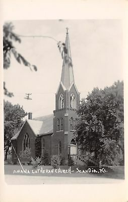 Scandia Kansas~Amana Lutheran Church~Hanging Electric Light~1940s RPPC