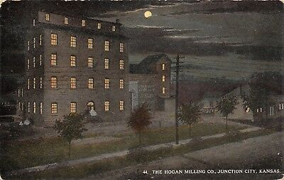 Junction City Kansas~Hogan Milling Co Night Lights~Best Yet Flour~Full Moon~1912