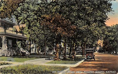 Salina Kansas~8th Street Homes~North From Walnut~Vintage Car~1916 Postcard