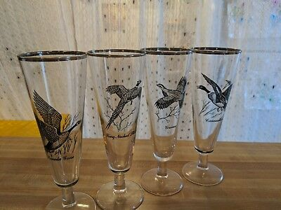 "Vintage Richard Bishop Wild Game Bird Set Of 4 Pilsner Glasses 8-1/2"" Tall"
