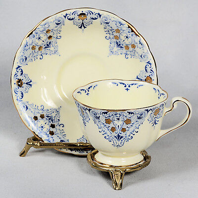 Royal Chelsea Teacup & Saucer - Cream Decorated With Blue & Gold Designs