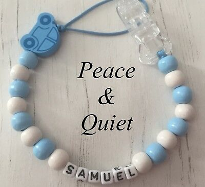 Personalised Dummy Clip🚙Wooden💙 chain🚙Dummy Chain💙Baby Gift🚙Blue💙 #PWP