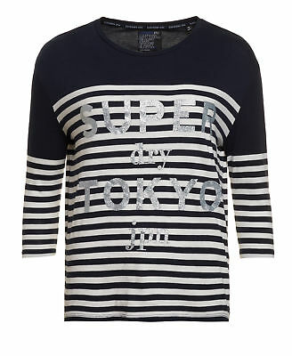 New Womens Superdry Factory Second Nordic Breton Top Navy