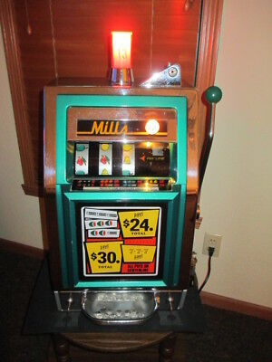 Mills Compact 777 Dime or 10 Cent Antique Slot Machine; Plays & Looks Perfectly!