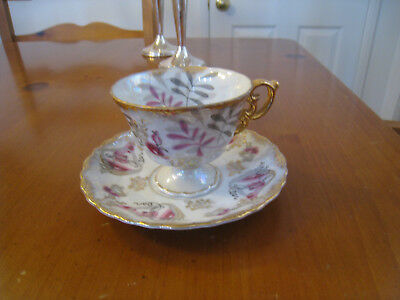 Vintage Royal Sealy China, Footed Botanical Tea Cup/Saucer Gold Trim From Japan