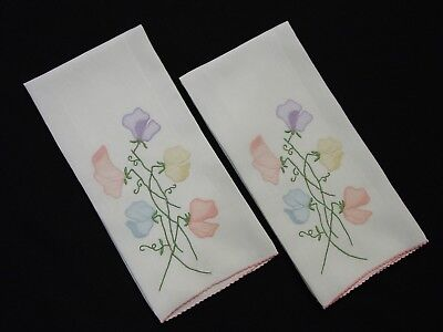 """2 Vintage Marghab Guest Towels, Sweet Pea 14 x 21"""", Exquisite"""
