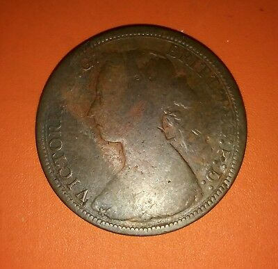 1888 Great Britain Queen Victoria 1/2Penny. Good / About Good circulated , Dents