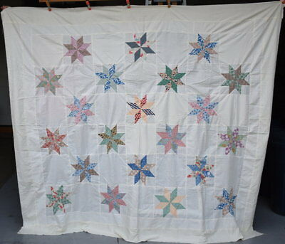 """Vintage Quilt  Top, """"Eight Pointed Star"""" Multi Colored Stars,  Queen Size #18158"""