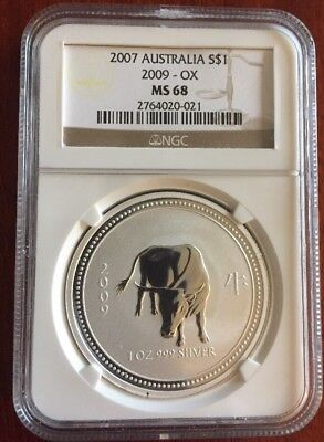 2007 Australian Perth Mint Lunar Series 1 Ox NGC MS 68 Silver Coin